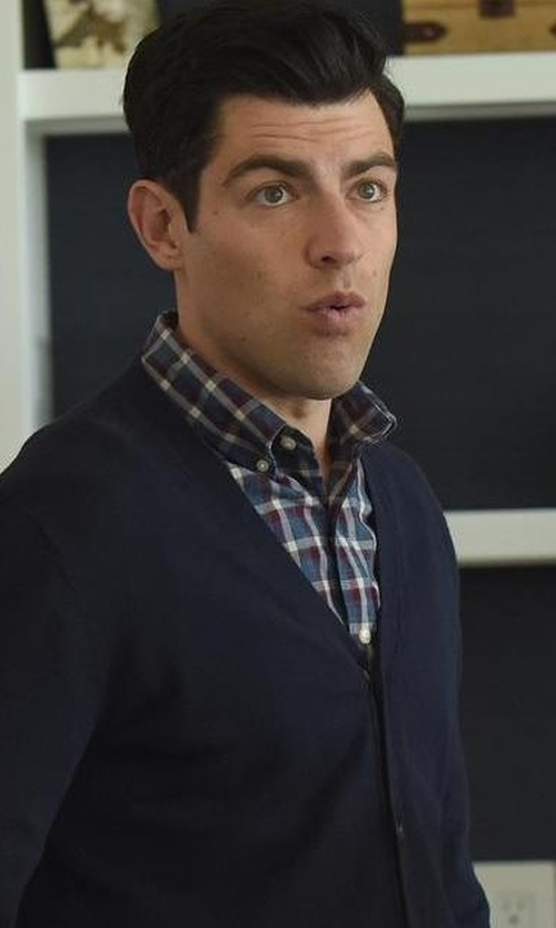 Max Greenfield with Peter Millar Teton Plaid Long-Sleeve Sport Shirt in New Girl