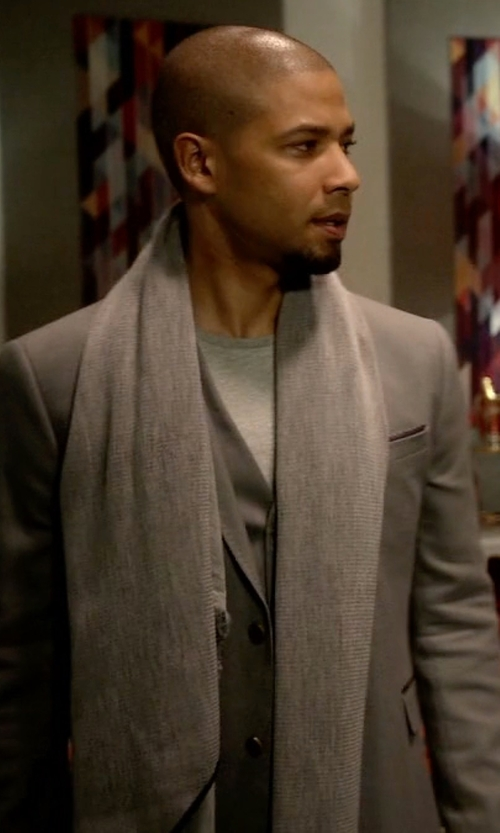 Jussie Smollett with Acne Studios Canada Mélange Wool Scarf in Empire