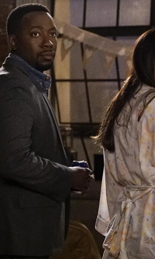 Lamorne Morris with Shades Of Grey By Micah Cohen  Two Button Blazer in New Girl