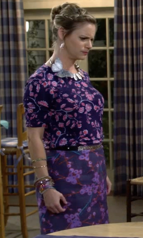 Andrea Barber with Carven Floral Print A-Line Miniskirt in Fuller House