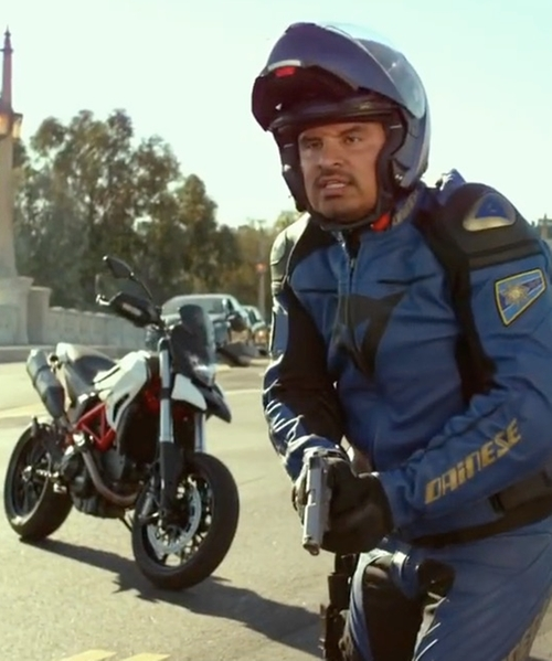 Michael Peña with Ducati Hypermotard 939 Motorcycle in CHIPs