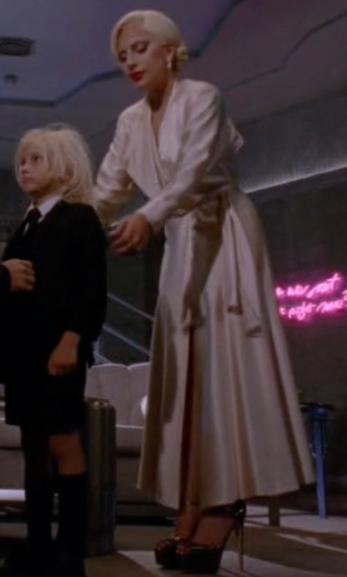Lady Gaga with Silk Essence Long Robe in American Horror Story