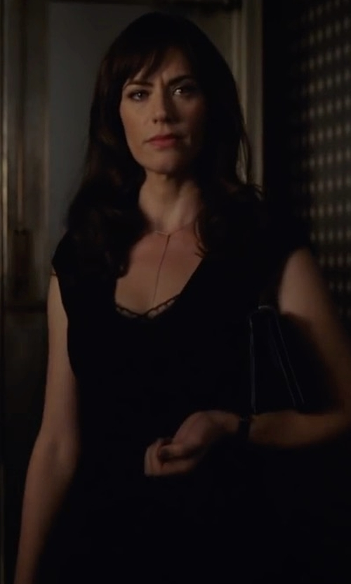Maggie Siff with Nic+Zoe Cap-Sleeve Faux-Wrap Dress in Billions