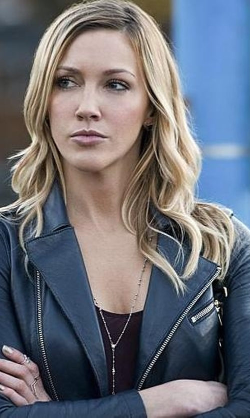 Katie Cassidy with BNCI by Blanc Noir Faux Leather Motor Jacket in Arrow