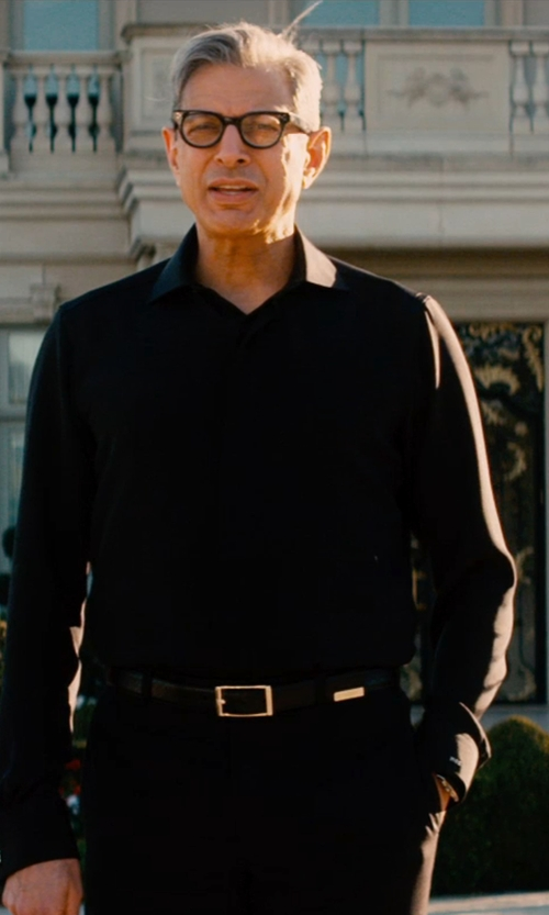 Jeff Goldblum with Salvatore Ferragamo Covered Placket Sportshirt in Mortdecai