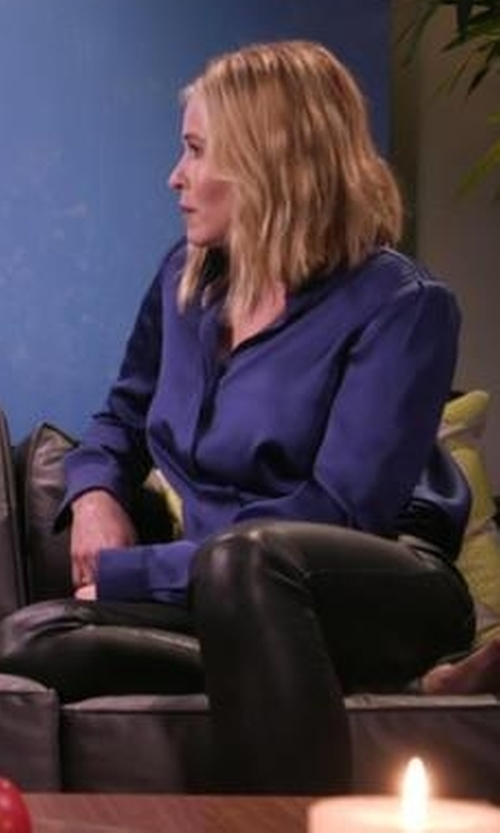 Chelsea Handler with French Connection Faux Leather Trousers in Chelsea