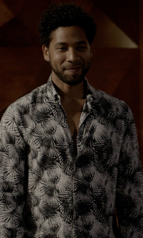 Jussie Smollett with Paul and Joe Floral Print Button Down Shirt in Empire
