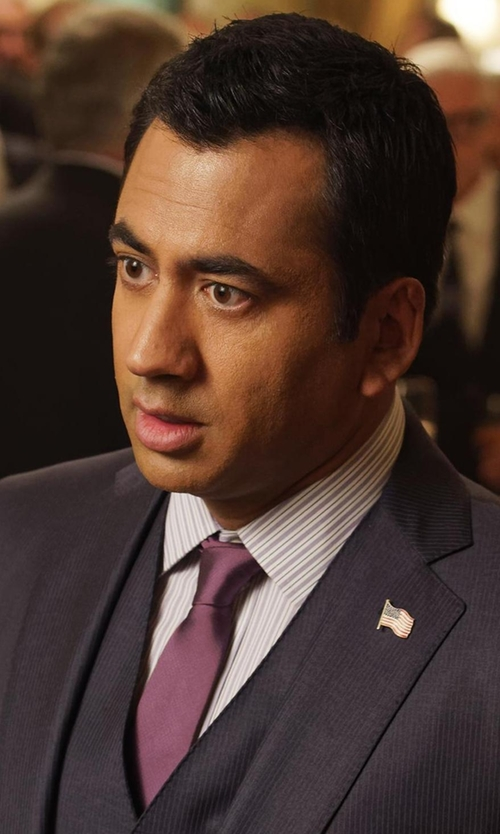 Kal Penn with Saks Fifth Avenue Collection Solid Silk Tie in Designated Survivor
