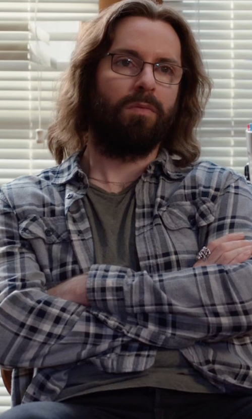 Martin Starr with IRO Albion Check-Plaid Long-Sleeve Sport Shirt in Silicon Valley