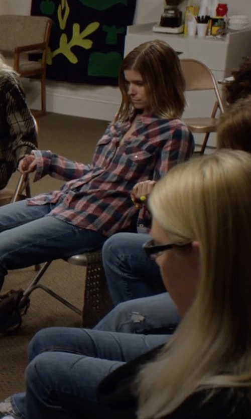 Kate Mara with U.S. Polo Assn. Plaid Long Sleeve Shirt in Captive