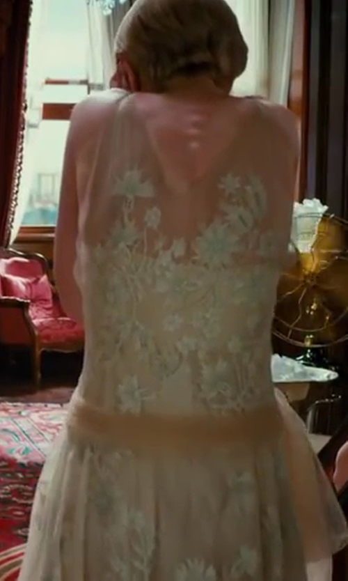 Carey Mulligan with Catherine Martin (Costume Designer) Custom Made Sleeveless Lace Dress in The Great Gatsby