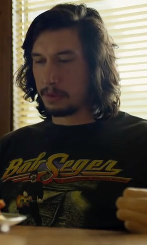 Adam Driver with DirtPoorClothingCo. Vintage 1996 Bob Seger & The Silver Bullet Band T Shirt in Logan Lucky
