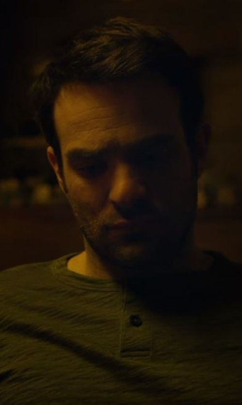 Charlie Cox with Banana Republic Vintage Pocket Henley Shirt in Daredevil
