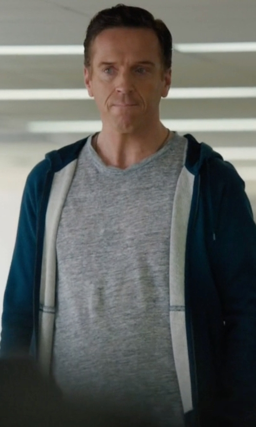 Damian Lewis with Michael Kors Waffle-Knit Hooded Zip Sweater in Billions