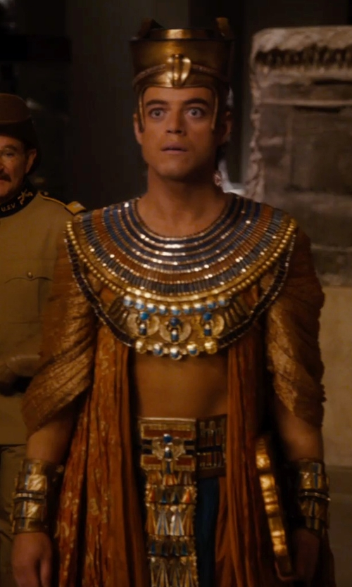 Rami Malek with Marlene Stewart (Costume Designer) Custom Made Egyptian Pharaoh Costume (Ahkmenrah) in Night at the Museum: Secret of the Tomb