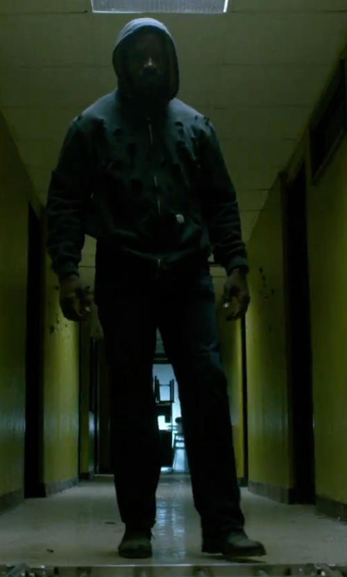 Mike Colter with J Brand Jeans Kane Bellows Straight-Leg Denim Jeans in Marvel's Luke Cage