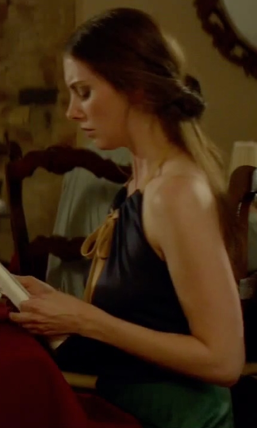 Alison Brie with Laundry by Shelli Segal Jersey Blouson Halter Dress in Sleeping with Other People