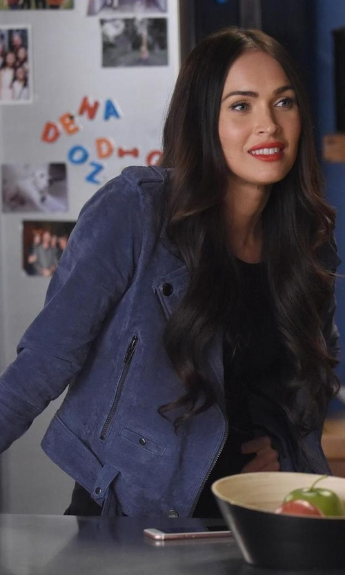 Megan Fox with Blank NYC Suede Moto Jacket in New Girl