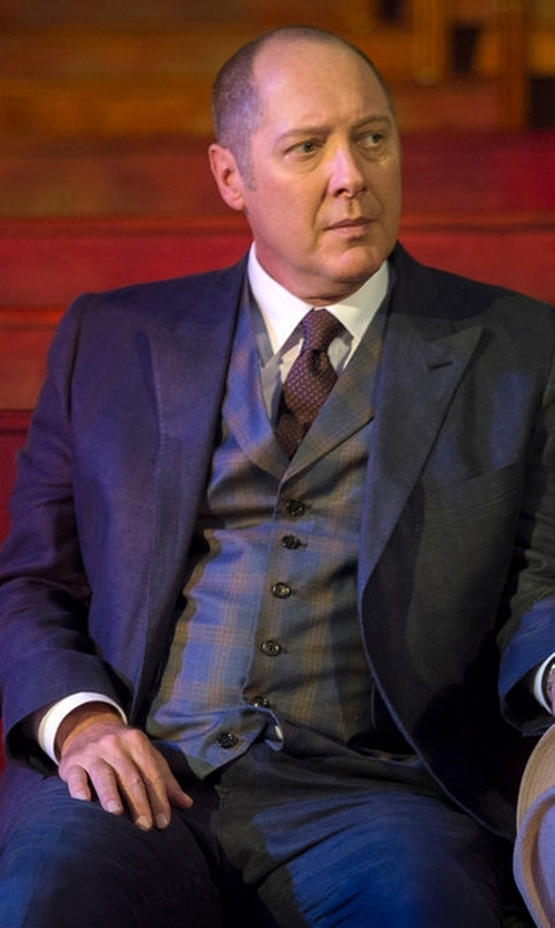 James Spader with Dolce & Gabbana Contrast-Stitch Three-Piece Suit in The Blacklist