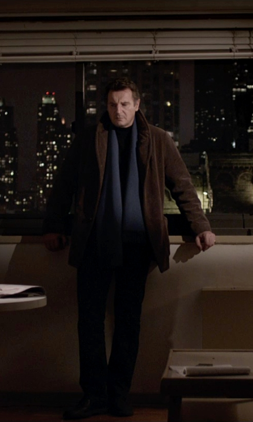 Liam Neeson with Lanvin Fringed scarf in A Walk Among The Tombstones
