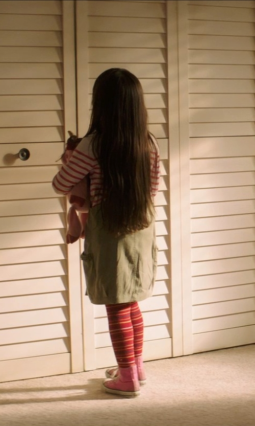 Kennedi Clements with Classroom Uniforms Princess Seam Printed Jumper Dress in Poltergeist