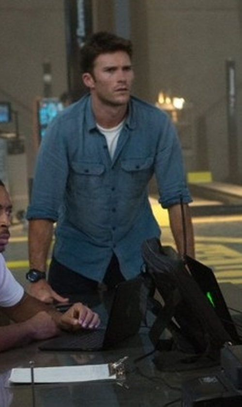 Scott Eastwood with RRL Warren Cotton Chambray Shirt in The Fate of the Furious