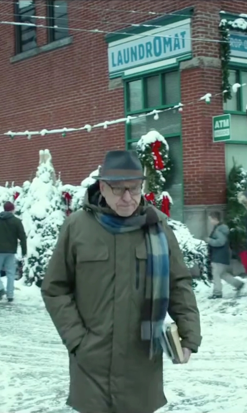 Alan Arkin with Our Legacy Plaid Brushed Wool-Blend Scarf in Love the Coopers