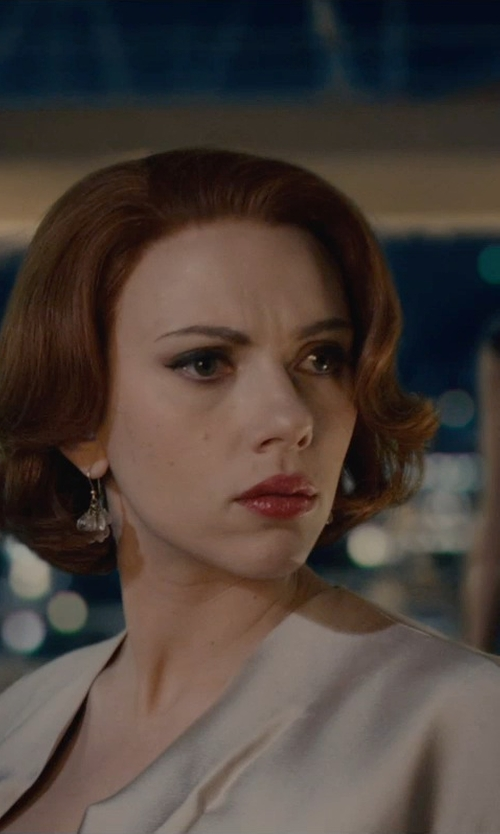 Scarlett Johansson with Patrizia Pepe Short Sleeve Shrug in Avengers: Age of Ultron