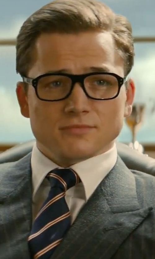Taron Egerton with Cutler And Gross Square-Frame Tortoiseshell Acetate Optical Glasses in Kingsman: The Golden Circle