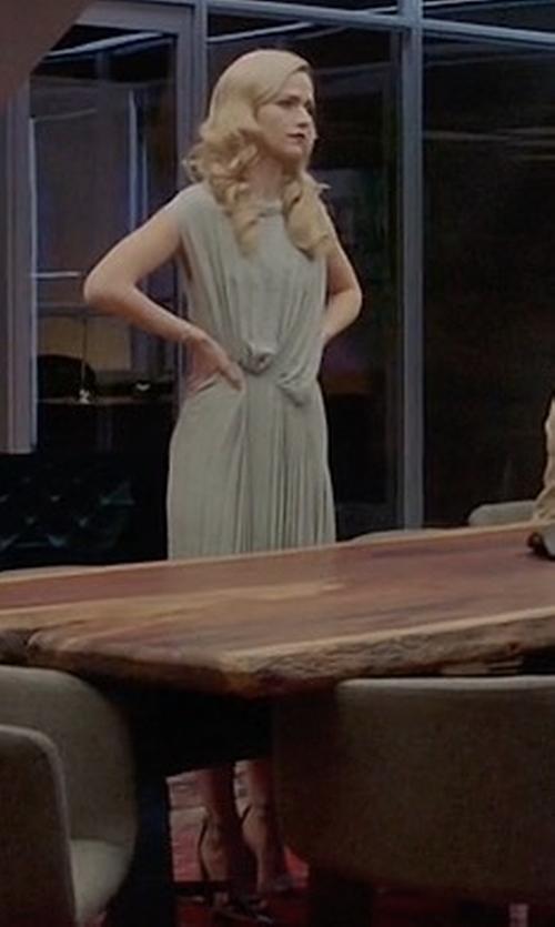 Johanna Braddy with Maison Margiela Pleated Asymmetric Midi Dress in Quantico