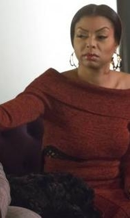 Taraji P. Henson with Proenza Schouler Slashed Off Shoulder Dress in Empire