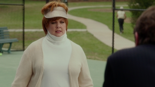 Melissa McCarthy with Tory Burch Inez Chevron-Ribbed Turtleneck Sweater in The Boss