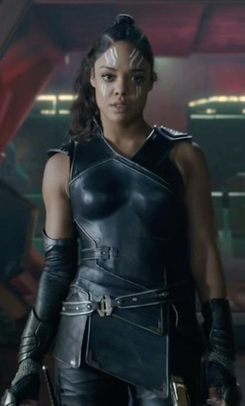 Tessa Thompson with Mayes C. Rubeo (Costume Designer) Custom Made Valkyrie Costume in Thor: Ragnarok