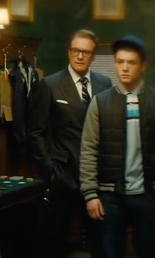 Colin Firth with Drake's Striped Woven-Silk Tie in Kingsman: The Golden Circle