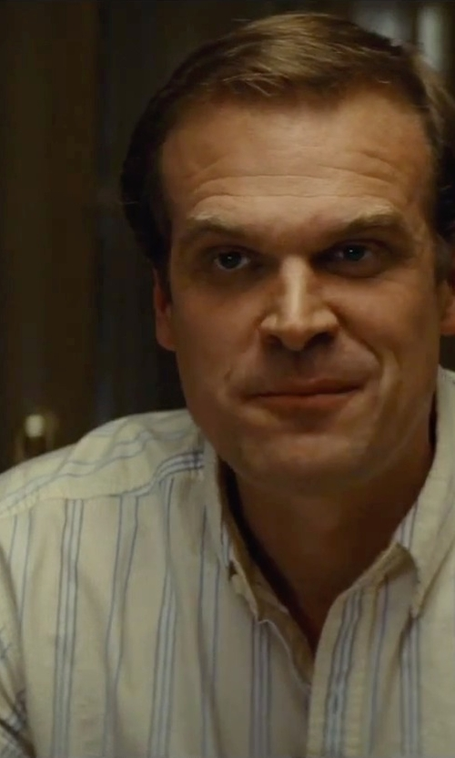 David Harbour with Brixton 'Howl' Trim Fit Short Sleeve Stripe Woven Shirt in Black Mass