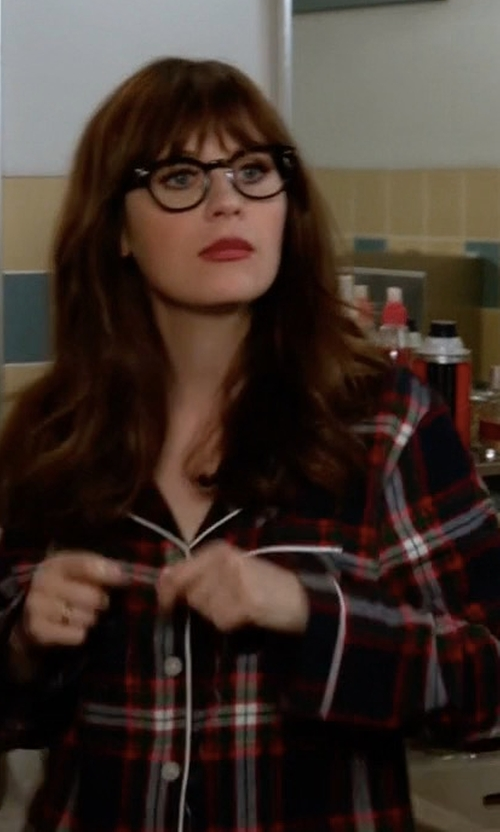 Zooey Deschanel with Gilligan & O'Malley Flannel North Collar Pajama Set in New Girl