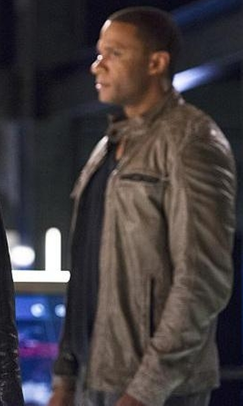 David Ramsey with Danier Grant Lamb Leather Jacket in The Flash
