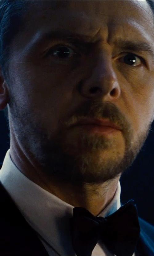 Simon Pegg with Armani Collezioni Pre-Tied Solid Silk Bow Tie in Mission: Impossible - Rogue Nation
