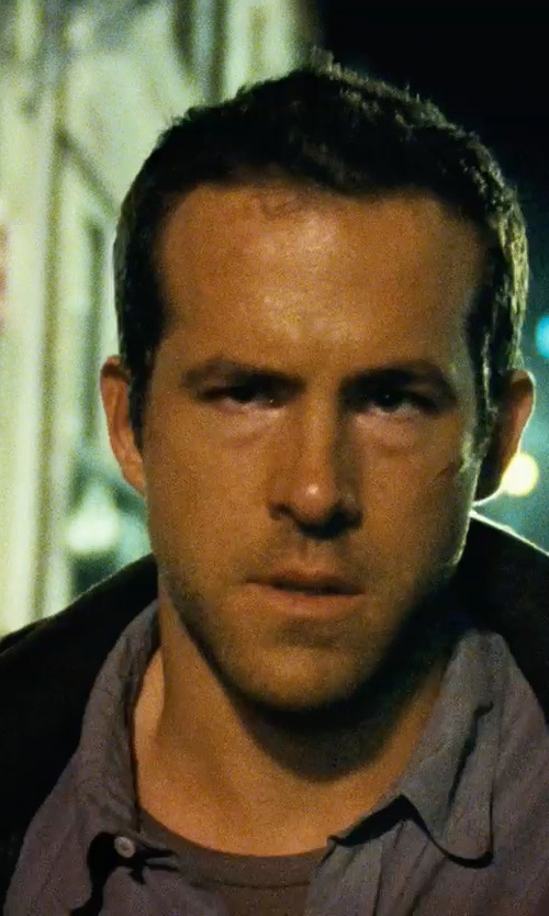 Ryan Reynolds with Volcom Everett Solid Short Sleeve Shirt in Safe House