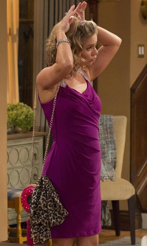 Andrea Barber with Betsey Johnson Donut Faux-Leather Crossbody Bag in Fuller House