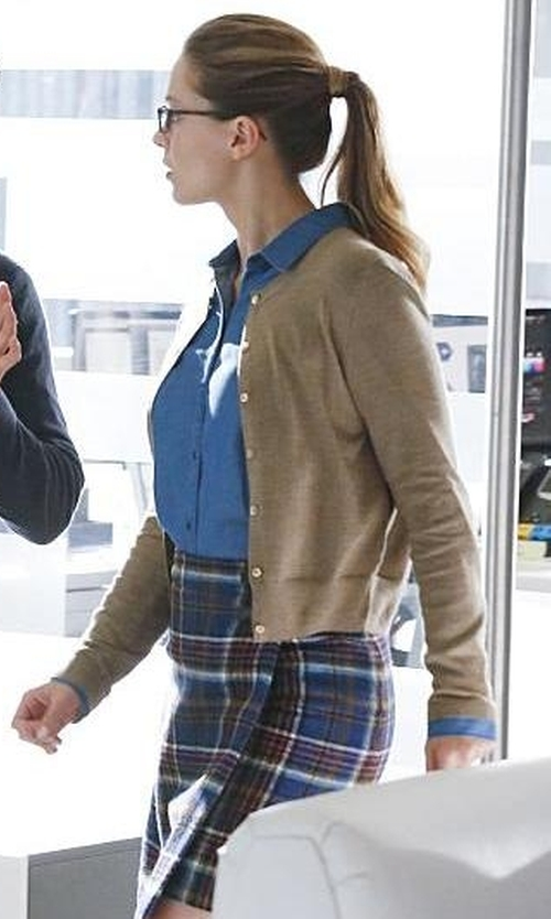 Melissa Benoist with Boden British Tweed Kilt Skirt in Supergirl