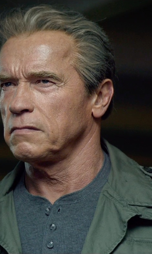 Arnold Schwarzenegger with RRL Ribbed Henley T-Shirt in Terminator: Genisys
