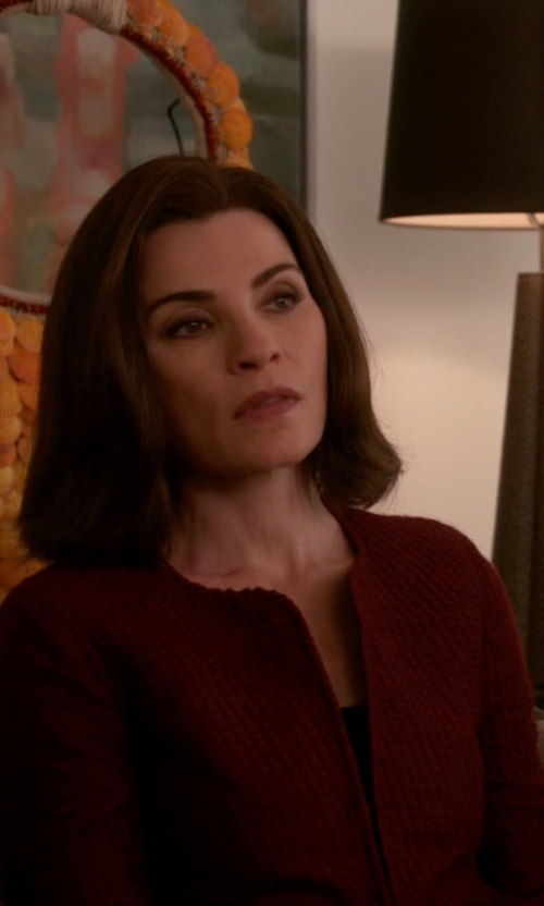 Julianna Margulies with Sandro Satin-Underlay Crepe Blazer in The Good Wife