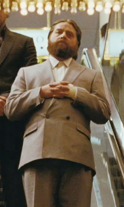 Zach Galifianakis with Brunello Cucinelli Houndstooth Linen Wool & Silk Suit in The Hangover