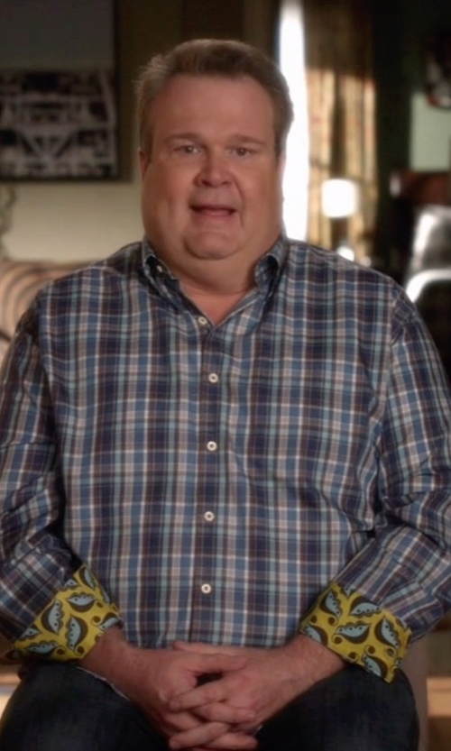 Eric Stonestreet with Vineyard Vines 'Colonnade Plaid - Murray' Classic Fit Twill Sport Shirt in Modern Family