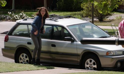 Seth Rogen with Subaru Outback in Neighbors