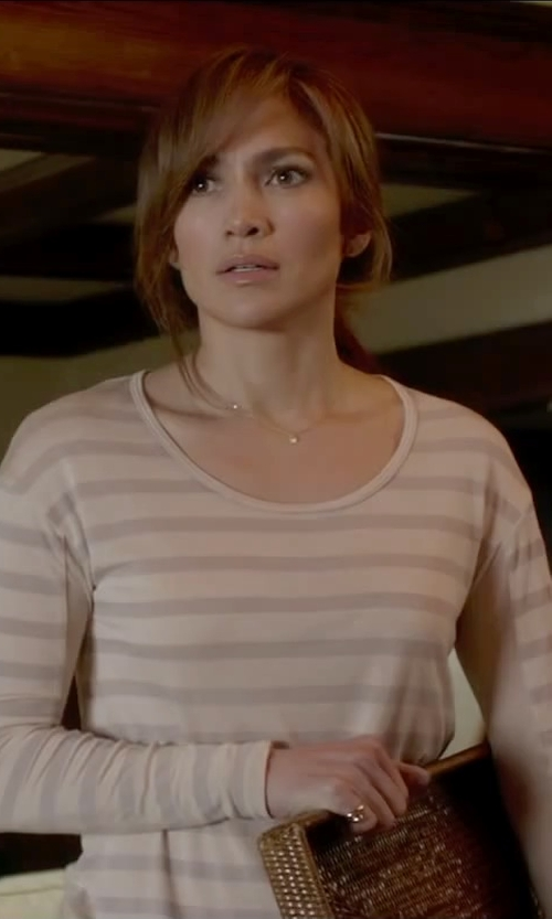 Jennifer Lopez with J.Crew Oversize Stripe Long Sleeve Tee in The Boy Next Door