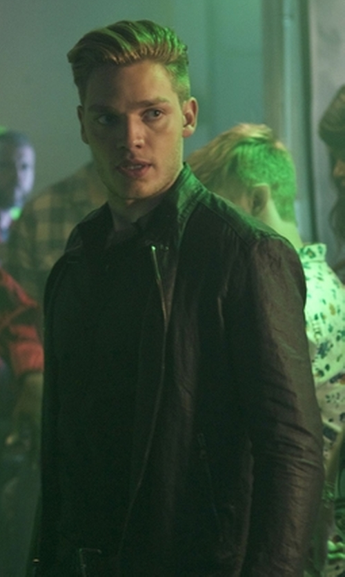 Dominic Sherwood with Freaky Nation Biker Jacket in Shadowhunters
