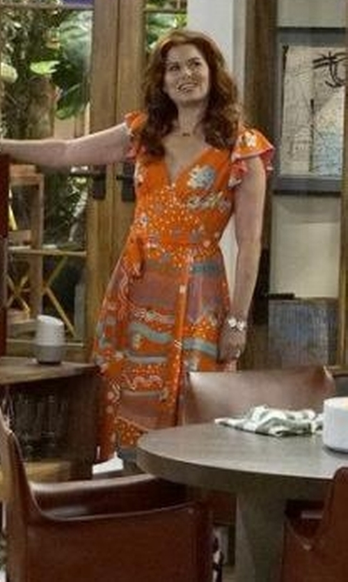 Debra Messing with Marc Jacobs Printed Wrap Dress in Will & Grace