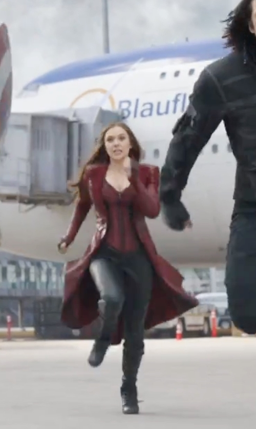 Elizabeth Olsen with Blank Denim Vegan Leather Skinny Pants in Captain America: Civil War